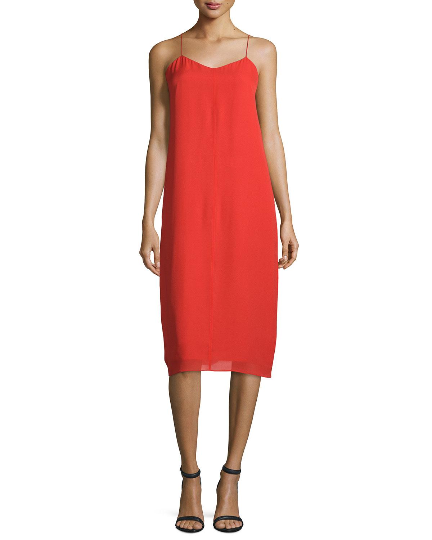 T by Alexander Wang Silk Georgette V-Neck Slip Dress, Cherry (Red), Size: 6