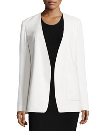Crepe Open-Front Blazer, Off White