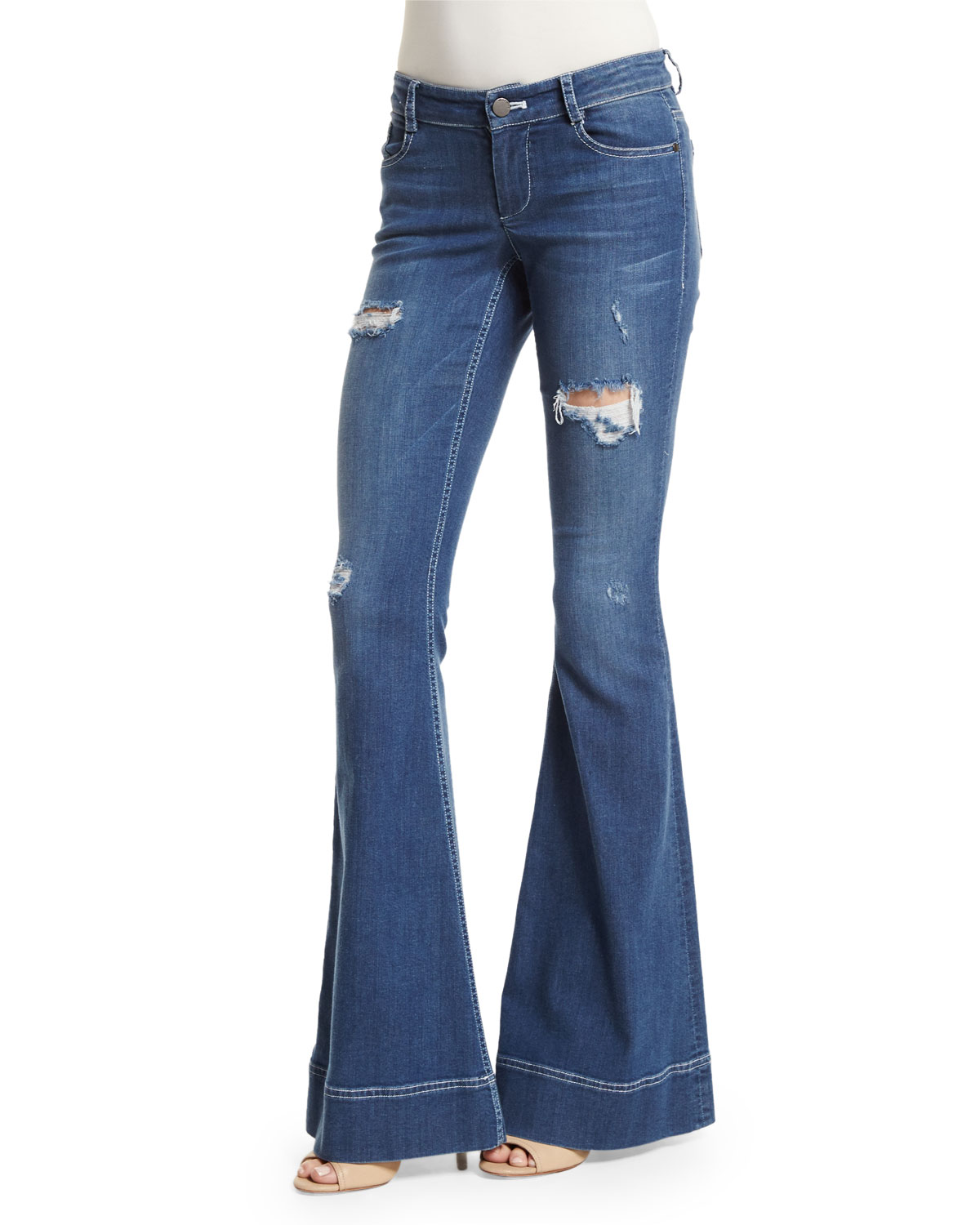 Alice + Olivia Ryley Distressed Flare Jeans, Light Blue, Size: 28