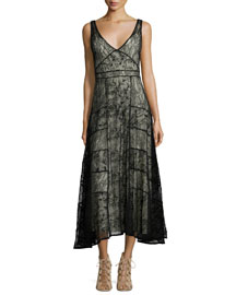 Phyllis Sleeveless Paneled Lace Midi Dress, Black/Brown