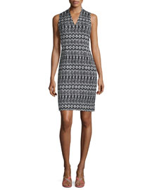 Trisha Printed Sheath Dress, Black/White