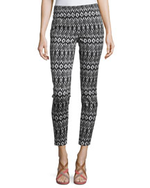 Jordy Printed Zip-Trim Pants, Black/White