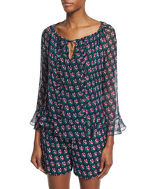 Simonia Silk Zen Flora Blouse, Midnight