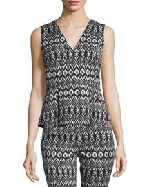 Ailey Printed Sleeveless Peplum Top, Black/White