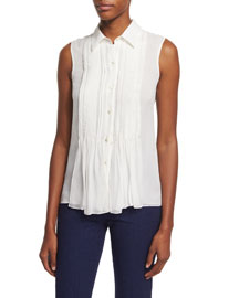 Blakely Pintucked Silk Tank w/ Collar, Ivory