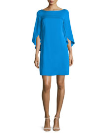 Butterfly-Sleeve Bateau-Neck Dress, Aqua