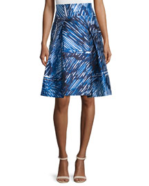 Scribble-Print Midi Skirt