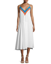 Sleeveless Zigzag Colorblock Midi Dress, Aqua/Multi