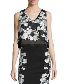 Jojo Embroidered Boxy Crepe Top, Black/White