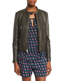 Buckley Cropped Leather Jacket, Deep Lichen
