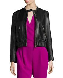 Buckley Zip-Front Lamb Leather Jacket, Black