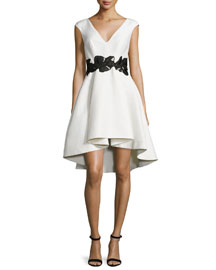 Cap-Sleeve V-Neck Fit & Flare Dress, Eggshell/Black