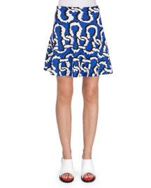 Printed A-Line Crepe Skirt, Royal