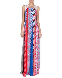 Sleeveless Mixed-Print Maxi Dress, Fire