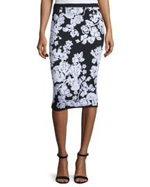 Floral Fitted Midi Skirt