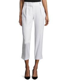 Nicole Cropped Italian Cady Pants, White