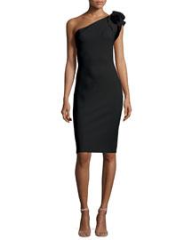 Cenrica One-Shoulder Rosette Sheath Dress