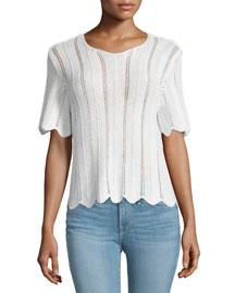 Le Crochet Short-Sleeve Boxy Top, Blanc