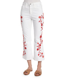 Jodi Embroidered Flare-Leg Cropped Jeans, White
