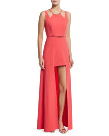 Sleeveless Split-Skirt Gown, Coral