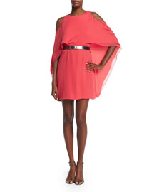 Cold-Shoulder Belted Flowy Dress, Coral