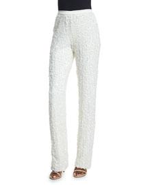 Paillette Slim Boot-Cut Pants, Eggshell