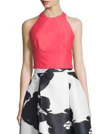 Sleeveless Structured Crop Top, Coral