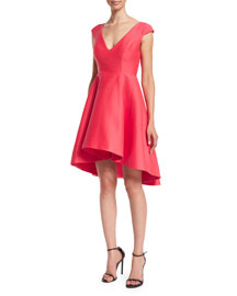 Cap-Sleeve V-Neck Fit & Flare Dress, Coral