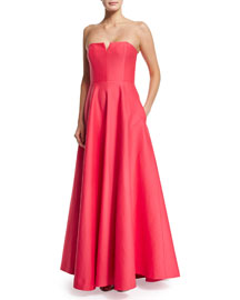 Strapless Structured Gown W/ Pockets