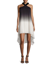 Embellished Halter-Neck Ombre Dress, Black/Oyster
