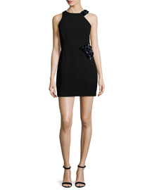 Sleeveless Embellished Sheath Dress, Black