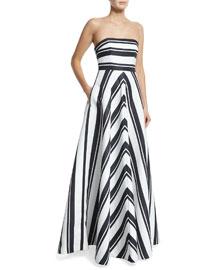 Strapless Striped Ball Gown, Black/Eggshell