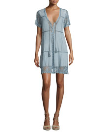 Hydaspe Short-Sleeve Lace-Up Dress, Prana