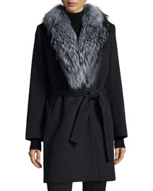 Wool Wrap Coat W/ Fur Collar