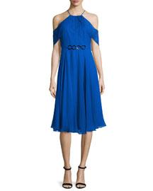 Cold-Shoulder Draped-Sleeve Dress, Cobalt