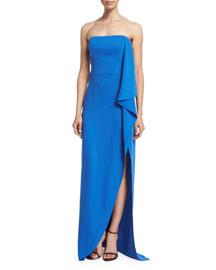 Strapless Draped-Ruffle Gown, Cobalt