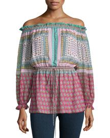 Camila Zen Scarf Silk Off-the-Shoulder Top, Multicolor