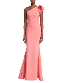 Enrica One-Shoulder Column Gown, Coral