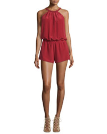 Nasiba Silk Halter Jumpsuit, Brick Red