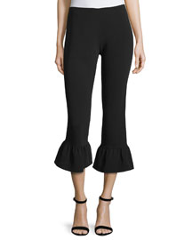 Cleo Flare-Hem Cropped Pants, Black