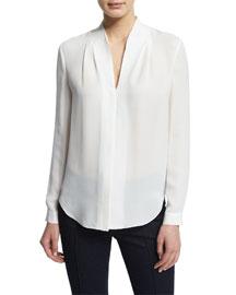 Judith Long-Sleeve V-Neck Silk Blouse