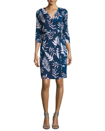 Long-Sleeve Floral-Print Wrap Dress, Leaves Indigo