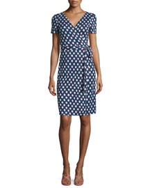Short-Sleeve Polka-Dot Wrap Dress