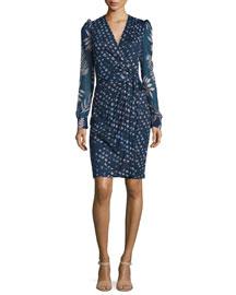 3/4-Sleeve Printed Wrap Dress, Daisy Indigo