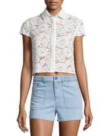 Loni Short-Sleeve Lace Top, Cream