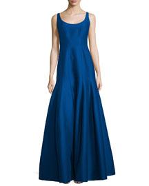 Tulip-Skirt Sleeveless Gown, Cobalt
