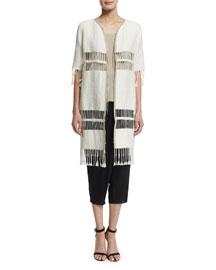 Rowena Fringe-Striped Long Coat, Ecru