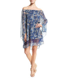 Cari Paisley Chiffon Mini Dress, Multicolor