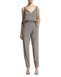 Cheyenne Sleeveless Slim-Leg Silk Jumpsuit, Cocoa