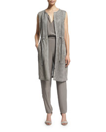 Jordan Drawstring-Waist Long Vest, Cocoa
